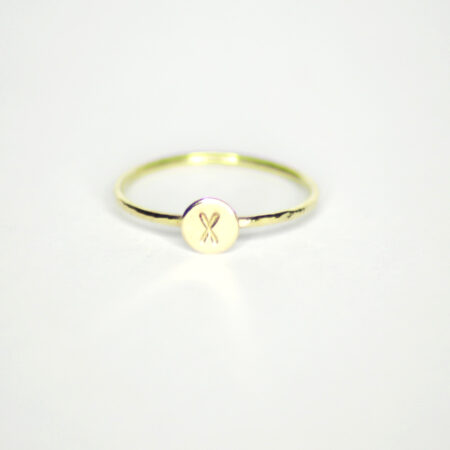 "Ring aus 585 Recycling Gold mit Goldplatte ""x"""