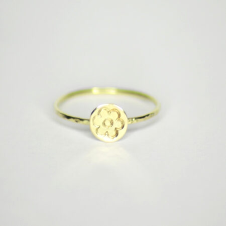 "Ring aus 585 Recycling Gold mit Goldplatte klein ""Blume"""