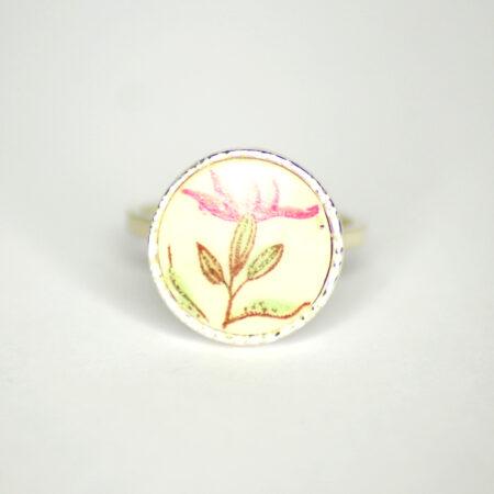 Ring aus 925 Silber mit Porzellan