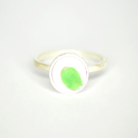 Ring aus 925 Silber mit handbemaltem Meissen Porzellan