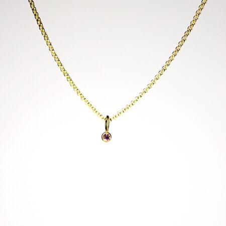 Kettenanhänger aus 18 Karat Gold mit pinkfarbenem Saphir